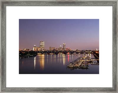 Boston Landmarks At Twilight Framed Print by Juergen Roth