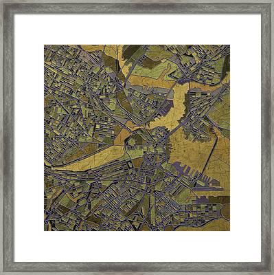 Boston Map Antique 2 Framed Print by Bekim Art