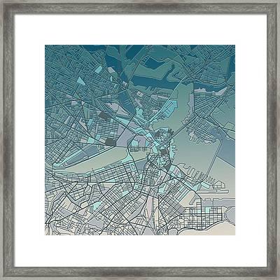 Boston Map  Framed Print by Bekim Art