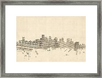 Boston Massachusetts Skyline Sheet Music Cityscape Framed Print by Michael Tompsett