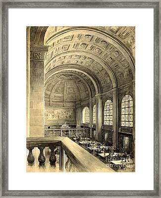 Boston Public Library Bates Hall 1896 Framed Print by Padre Art