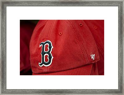 Boston Red Sox Baseball Cap Framed Print by Susan Candelario
