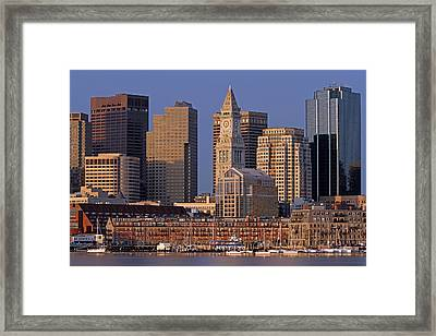 Boston Sail Boats And Cityscape Framed Print by Juergen Roth