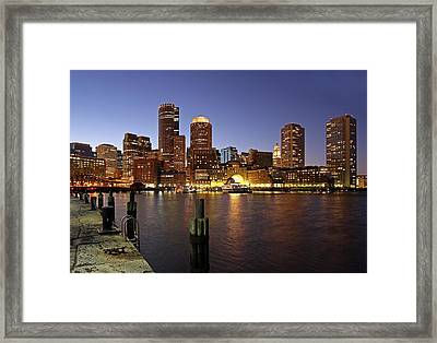 Boston Skyline And Fan Pier Framed Print by Juergen Roth