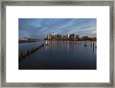 Boston Skyline At Dusk Framed Print by Eric Gendron