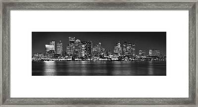 Boston Skyline At Night Panorama Black And White Framed Print by Jon Holiday