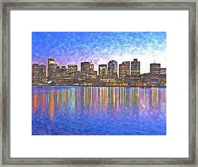 Boston Skyline By Night Framed Print by Rachel Niedermayer