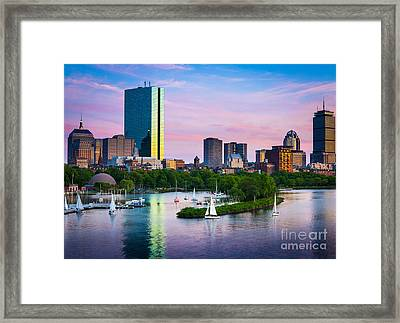 Boston Skyline Framed Print by Inge Johnsson