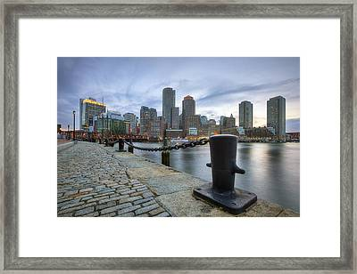 Boston Skyline Sunset Framed Print by Eric Gendron