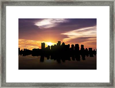 Boston Sunset Skyline  Framed Print by Aged Pixel