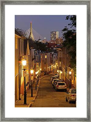 Boston View From Charlestown Framed Print by Juergen Roth