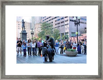 Bostonian Antics Framed Print by Kristin Elmquist