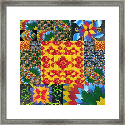 Botanic Gardens In Recycled Math Books Framed Print by Cathy Jacobs
