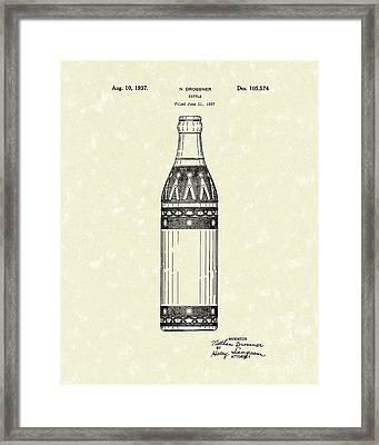Bottle 1937 Patent Art Framed Print by Prior Art Design