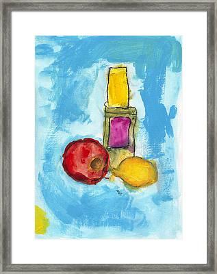 Bottle Apple And Lemon Framed Print by Skip Nall