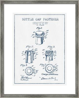 Bottle Cap Fastener Patent Drawing From 1907  - Blue Ink Framed Print by Aged Pixel