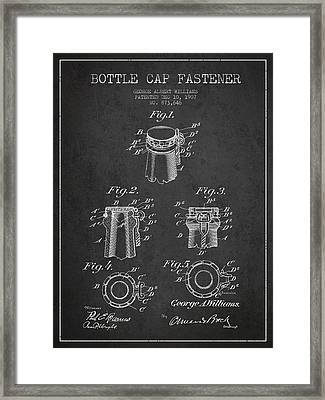 Bottle Cap Fastener Patent Drawing From 1907 - Dark Framed Print by Aged Pixel