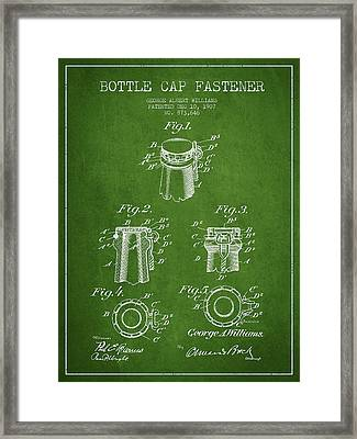 Bottle Cap Fastener Patent Drawing From 1907 - Green Framed Print by Aged Pixel