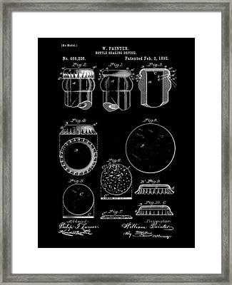 Bottle Cap Patent 1892 - Black Framed Print by Stephen Younts