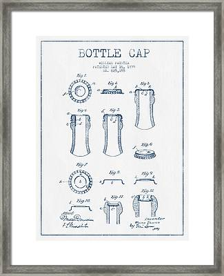 Bottle Cap Patent Drawing From 1899 - Blue Ink Framed Print by Aged Pixel