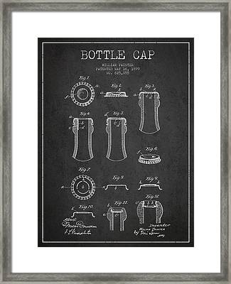 Bottle Cap Patent Drawing From 1899 - Dark Framed Print by Aged Pixel