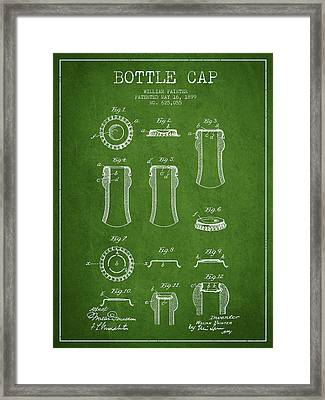 Bottle Cap Patent Drawing From 1899 - Green Framed Print by Aged Pixel