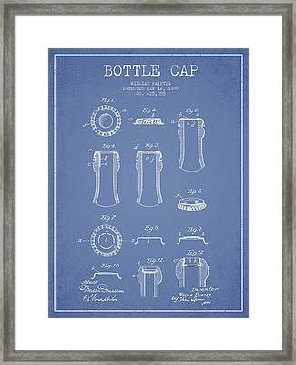 Bottle Cap Patent Drawing From 1899 - Light Blue Framed Print by Aged Pixel