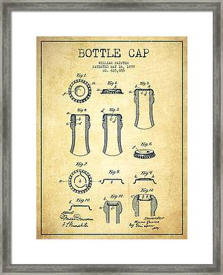 Bottle Cap Patent Drawing From 1899 - Vintage Framed Print by Aged Pixel