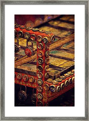 Bottle Caps Chair Framed Print by Maria Angelica Maira