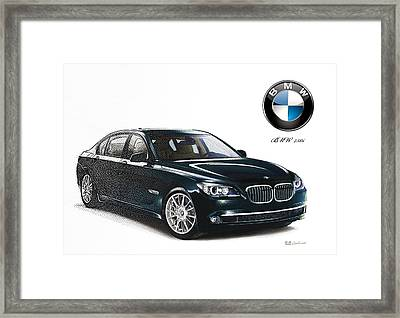 Bottle-green 2013 Bmw 750i With Badge  Framed Print by Serge Averbukh
