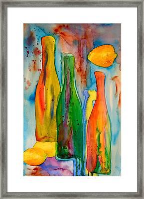 Bottles And Lemons Framed Print by Beverley Harper Tinsley