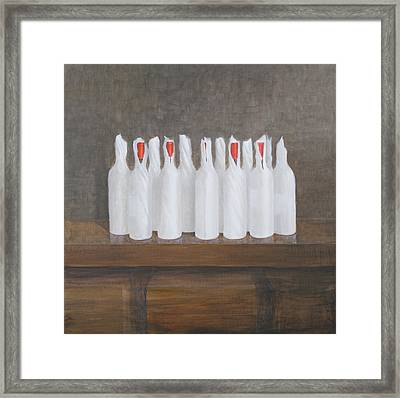 Bottles In Paper Framed Print by Lincoln Seligman