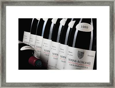 Bottles Of Vosne-romanee Premier Cru Cros Parantoux Framed Print by Anonymous