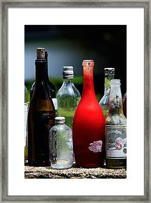 Bottles - Several Old Bottles Lined Up On A Wall Framed Print by Nature  Photographer