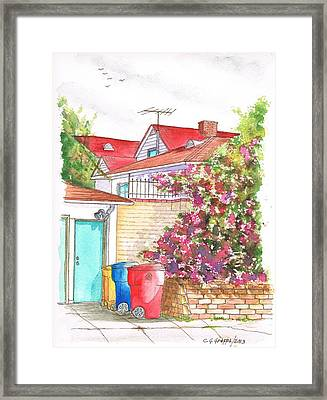 Bougainvilleas And Trash Cans In Westwood - California Framed Print by Carlos G Groppa
