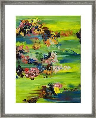 Boughs Green Framed Print by Vanessa Shinmoto