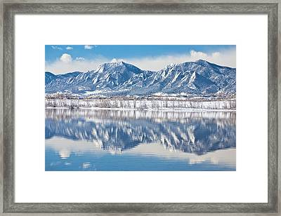 Boulder Reservoir Flatirons Reflections Boulder Colorado Framed Print by James BO  Insogna