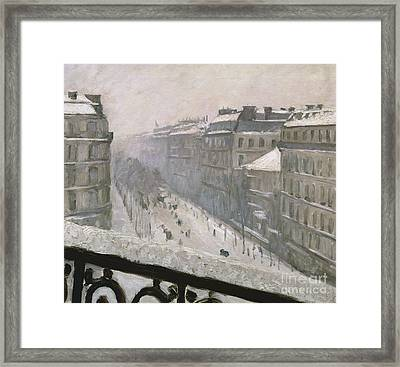 Boulevard Haussmann In The Snow Framed Print by Gustave Caillebotte