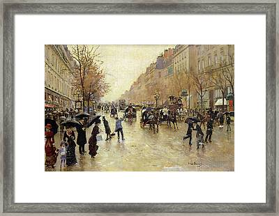 Boulevard Poissonniere In The Rain, C.1885 Oil On Canvas Framed Print by Jean Beraud