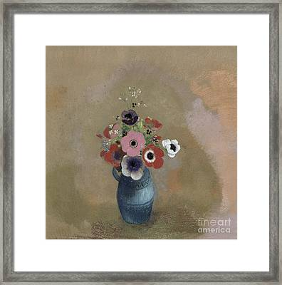 Bouquet Of Anemones Framed Print by Odilon Redon