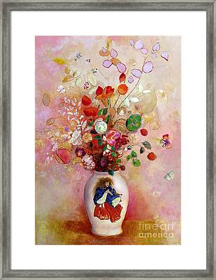 Bouquet Of Flowers In A Japanese Vase Framed Print by Odilon Redon