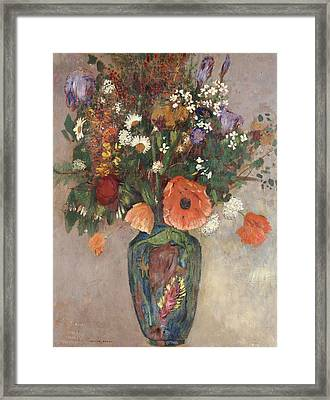 Bouquet Of Flowers In A Vase Framed Print by Odilon Redon