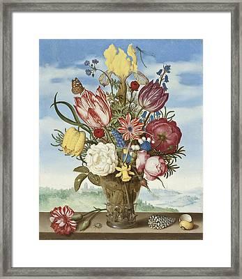 Bouquet Of Flowers On A Ledge Framed Print by Ambrosius Bosschaert the Elder