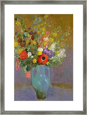 Bouquet Of Wild Flowers  Framed Print by Odilon Redon