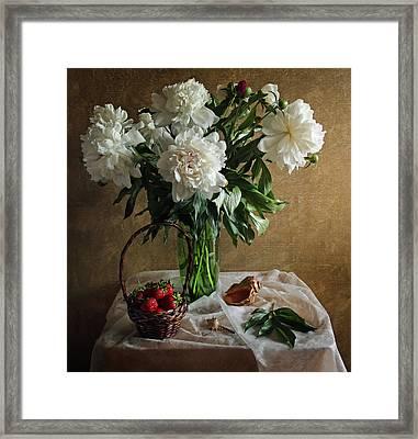 Bouquet Peonies Flowers Framed Print by Vitaliy Gladkiy