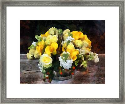 Bouquet With Roses And Calla Lilies Framed Print by Susan Savad