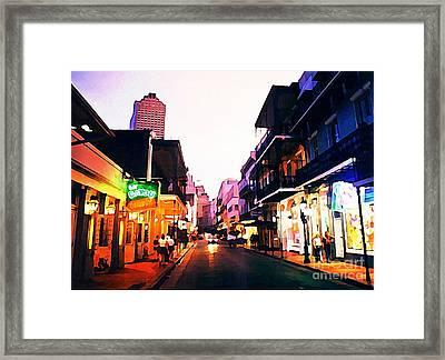 Bourbon Street Early Evening Framed Print by John Malone