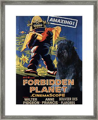 Bouvier Des Flandres - Flanders Cattle Dog Art Canvas Print - Forbidden Planet Movie Poster Framed Print by Sandra Sij