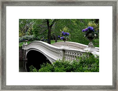 Bow Bridge Flower Pots - Central Park N Y C Framed Print by Christiane Schulze Art And Photography
