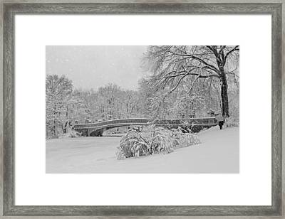 Bow Bridge In Central Park During Snowstorm Bw Framed Print by Susan Candelario
